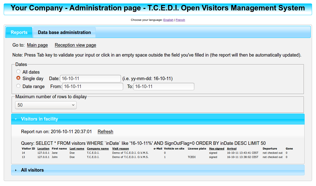 T C E D I  Open Visitors Management System - T C E D I